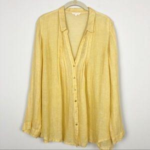 Eileen Fisher sheer 100% linen gold blouse